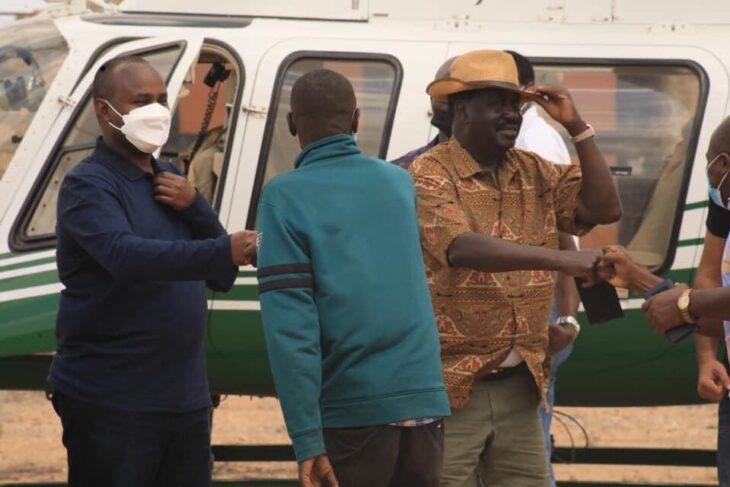 Suna East MP Junet Mohamed and other ODM leaders had accompanied Raila Odinga on a short tour of the coastal region. Photo: ODM/Twitter.