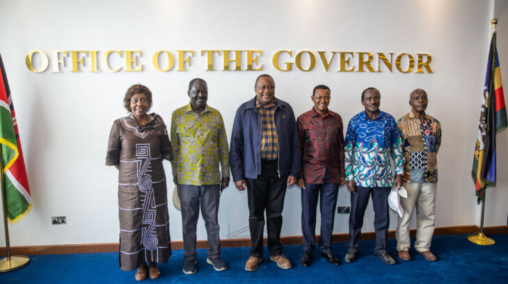 As part of President Uhuru's plea for unity, Uhuru secretly invited Raila to the Ukambani tour, a move that surprised local leaders including the Wiper party leader who had not expected the latter's arrival. Photo: State House/Twitter.