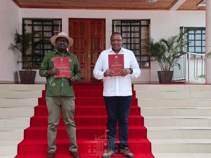 William Ruto and Raila Odinga have locked horns over the BBI bill. President Uhuru Kenyatta (right) and Raila Odinga (Left) have been at the forefront of promoting the planned constitutional amendment Photo: State House/Twitter.